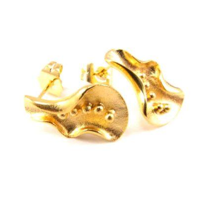 Smuk guldbelagt ørering