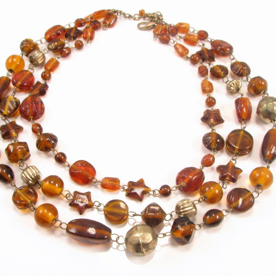 Unika halskæde med brune perler