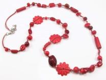 Unika halskæde med røde perler