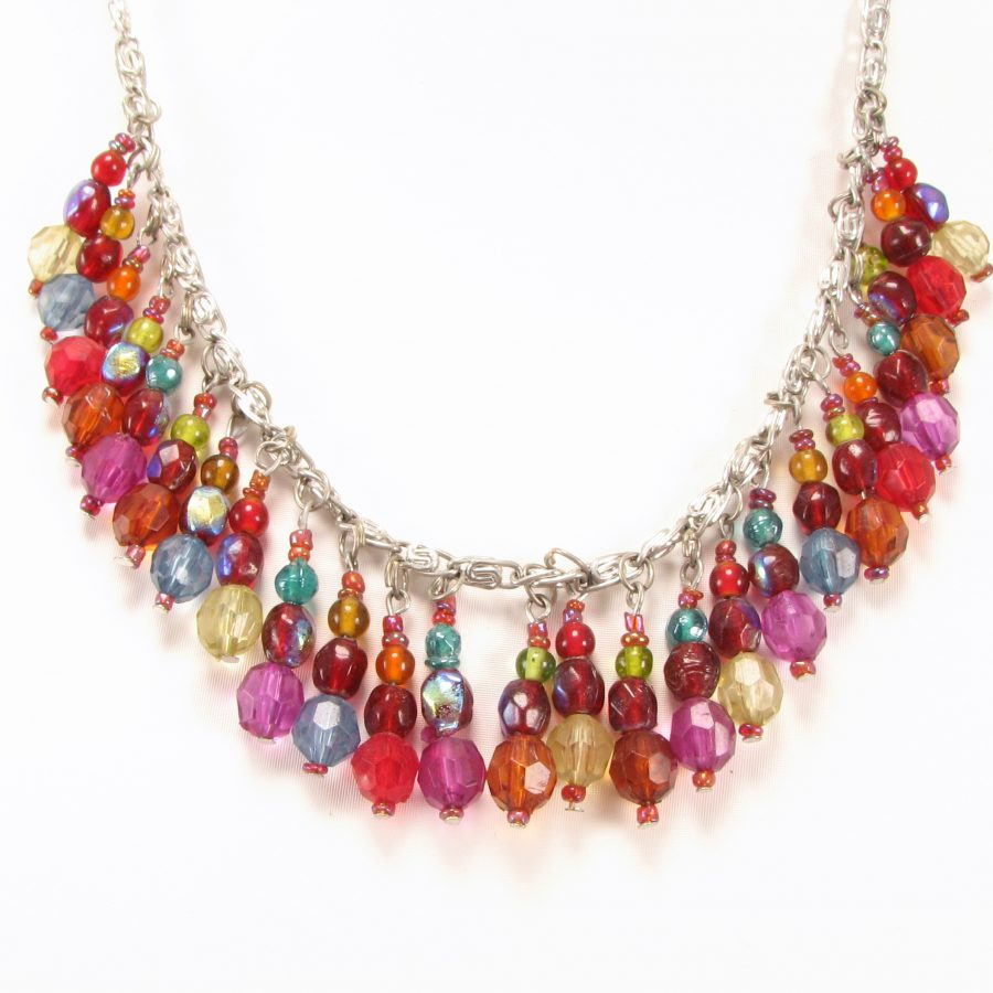Farverig unika halskæde