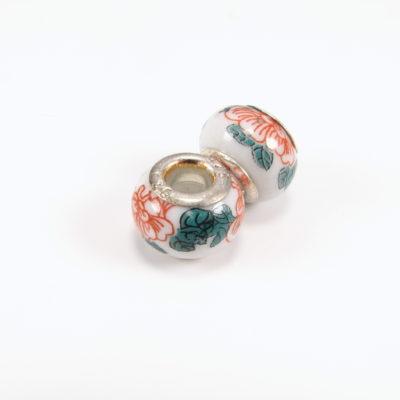 Keramikperle - rød/grøn