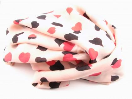 Silketørklæde med hjerter