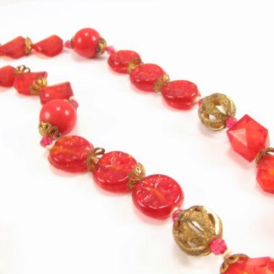 Rød unika halskæde