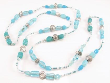 Lang blå unika halskæde