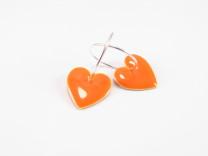 Orange emalje hjerte på sterling creol