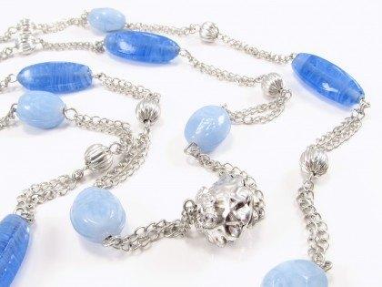 Smuk blå unika halskæde