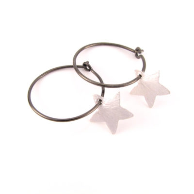 Sølv stjerne på oxideret sterling creol