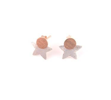 Ørestikker i sølv og rosaguld