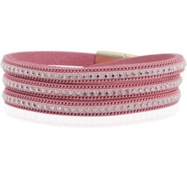 Rosa armbånd med rhinsten