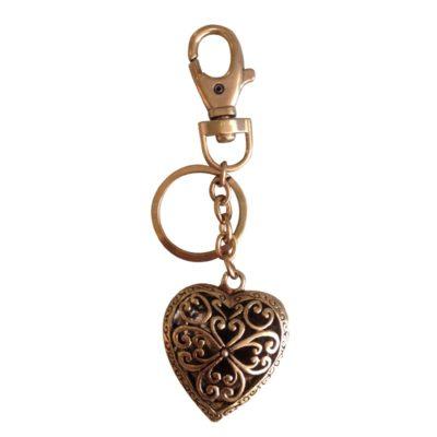 Nøglering med smukt hjerte, gylden