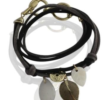 Læder armbånd med charms