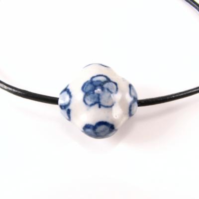 BR201 Læderarmbånd med keramik