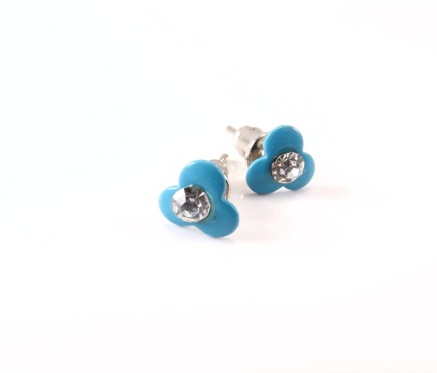 EA174_Emalje blomst blå