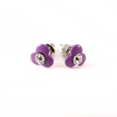 Emalje blomst med rhinsten, purple